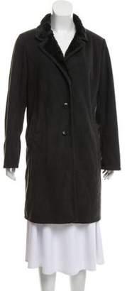 agnès b. Faux Shearling Notch-Lapel Overcoat Grey Faux Shearling Notch-Lapel Overcoat