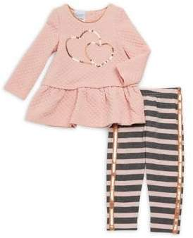 Nannette Baby Girl's Two-Piece Sequined Quilt Top and Stripe Leggings Set