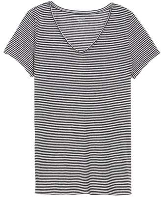 Eileen Fisher Stripe Long Organic Linen Top