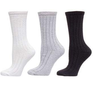 Carole Hochman Ladies' 3 Pair Ribbed Lounge Sock