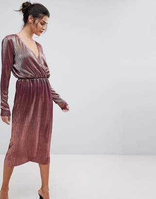 Y.A.S Metallic Wrap Midi Dress