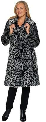 Dennis Basso Platinum Collection Faux Fur Knee Length Coat