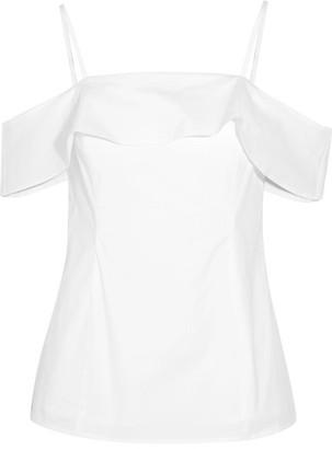 MICHAEL Michael Kors - Layered Cold-shoulder Cotton-poplin Top - White $95 thestylecure.com