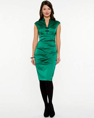 Le Château Matte Satin V-Neck Dress