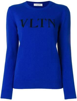 Valentino round neck intarsia logo jumper