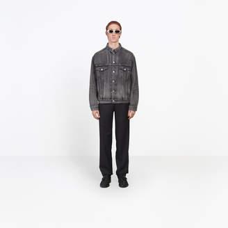 Balenciaga Classic denim jacket with laser printed logo at back