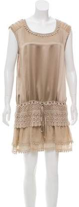 Philosophy di Alberta Ferretti Lace-Accented Silk Dress w/ Tags