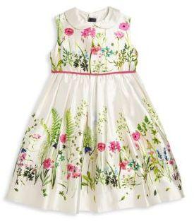 Oscar de la Renta Toddler's & Little Girl's Botanical Border Mikado Pinafore Dress $375 thestylecure.com