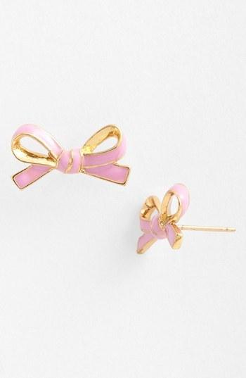 Kate Spade 'skinny mini' bow stud earrings Lilac/ Gold