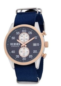 Versace Stainless Steel and Strap Watch