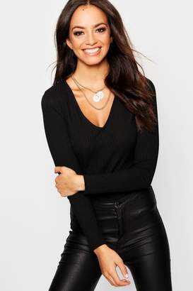 boohoo Rib Knit V Neck Long Sleeve Top