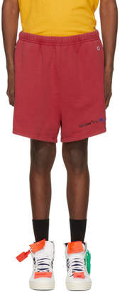 Off-White Off White Red Champion Reverse Weave Edition Lounge Shorts