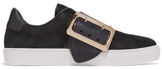 Burberry Buckle-embellished Leather-trimmed Nubuck Slip-on Sneakers - Black