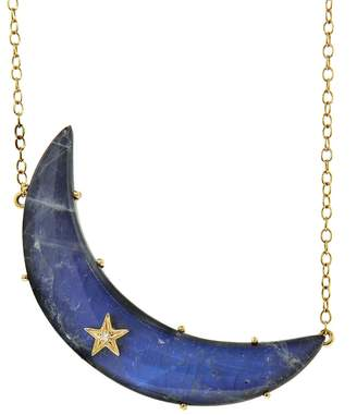 Andrea Fohrman Rainbow Moonstone and Hematite Moon Pendant - Yellow Gold
