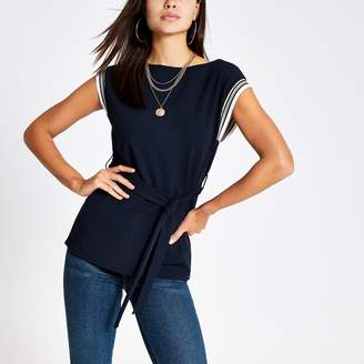 River Island Womens Navy tie waist tank top