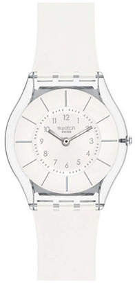 Swatch White Classiness Silicone Strap Watch