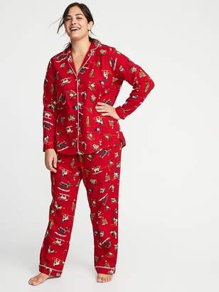 Old Navy Plus-Size Printed Flannel Sleep Set