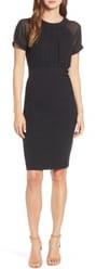 Vince Camuto Illusion Short Sleeve Crepe & Chiffon Dress