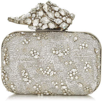 80cebc56796 Jimmy Choo CLOUD Gold Embroidered Clutch Bag with Crystal Knot Clasp