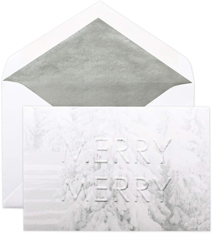 Winter White Merry Merry with Evergreens Cards