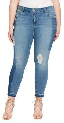 Jessica Simpson Plus Floral Rolled Hem Jeans