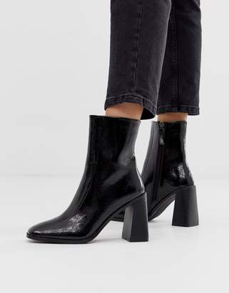 Raid RAID Kiaya square toe heeled ankle boots in black patent