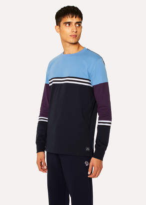 Paul Smith Men's Dark Navy Colour-Block Stripe Long-Sleeve T-Shirt