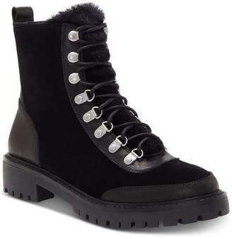 Lucky Brand Ilianna Lace-Up Faux Fur Hiker Boots Women Shoes