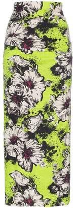 Miu Miu floral printed and textured silk-blend midi skirt