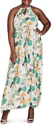 City Chic Plus Sleeveless Floral-Print Maxi Dress