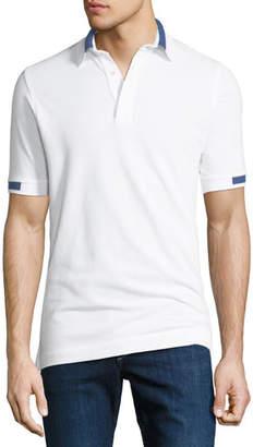 Kiton Men's Pique Knit Cotton Polo Shirt, White