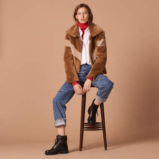 Sandro Cropped sheepskin jacket