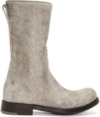 Rick Owens Off-White and Brown Calf-Hair Cop Zip Boots