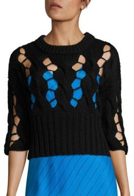 DKNY Chunky Merino Wool Open Cable Sweater $398 thestylecure.com
