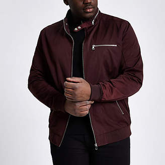 River Island Big and Tall dark red racer neck jacket