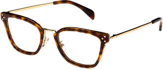 Celine Square Acetate & Metal Optical Frames, Light Brown