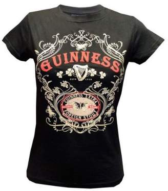 Guinness Ladies T-Shirt With Butterfly & Extra Foreign Stout Print, Colour