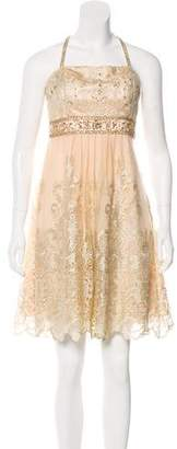 Sue Wong Embroidered Knee-Length Dress