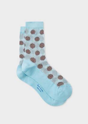 Paul Smith Women's Light Blue Stripe-Polka Dot Semi-Sheer Socks