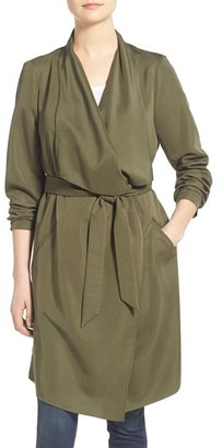 Women's Kensie Belted Drape Front Trench Coat $138 thestylecure.com