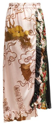 By Walid Ofra Antique Silk Skirt - Womens - Pink Multi