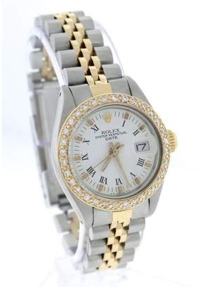 Rolex Date 6917 18K Yellow Gold / Stainless Steel Diamond White Roman Jubilee 26mm Womens Watch