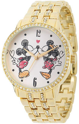 Disney Womens Gold-Tone Cubic Zirconia Love Bracelet Watch