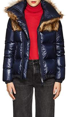 Sacai Women's Faux-Fur-Collar Down Tech-Puffer Coat - Navy, Bge