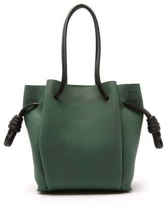 Loewe - Flamenco Grained Leather Bag - Womens - Black Green