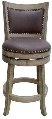 Boraam Industries Cantabria Wire-Brush Swivel Stool, Weathered White