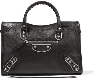 Balenciaga Metallic Edge City Small Textured-leather Tote - Black