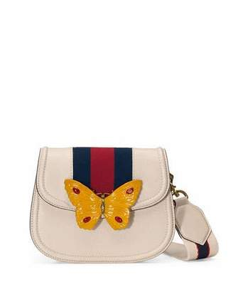 Gucci Linea Totem Small Leather Shoulder Bag with Butterfly & Web Strap