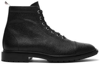 Thom Browne Brogue Detailed Leather Boots - Mens - Black