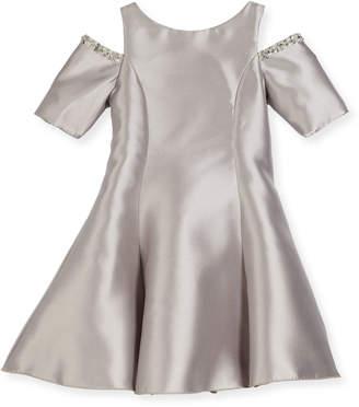 Zoe Emme Cold-Shoulder Fit-and-Flare Dress, Silver, Size 7-16
